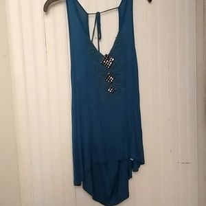 Teal blue lace and square details tank